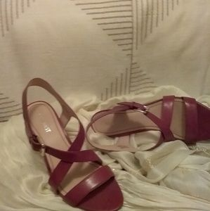 Nine West red leather sandals